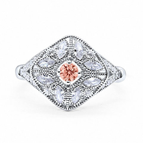 Art Deco Ring Marquise Filigree Simulated Round Morganite Cubic Zirconia 925 Sterling Silver