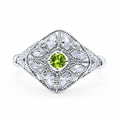 Art Deco Ring Marquise Filigree Simulated Round Peridot Cubic Zirconia 925 Sterling Silver