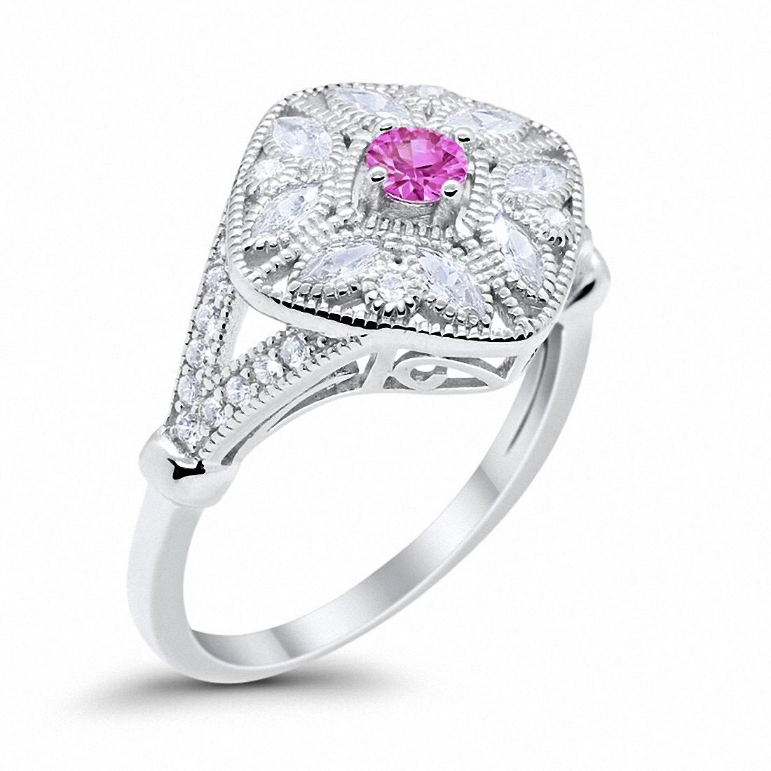 Art Deco Ring Marquise Filigree Simulated Pink CZ 925 Sterling Silver
