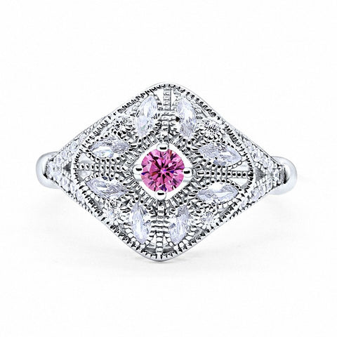 Art Deco Ring Marquise Filigree Simulated Round Pink Cubic Zirconia 925 Sterling Silver