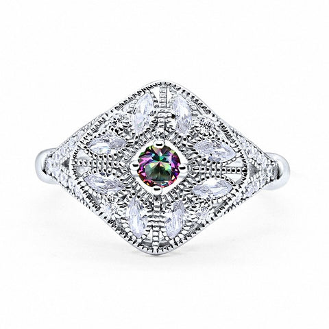 Art Deco Ring Marquise Filigree Simulated Round Rainbow CZ 925 Sterling Silver