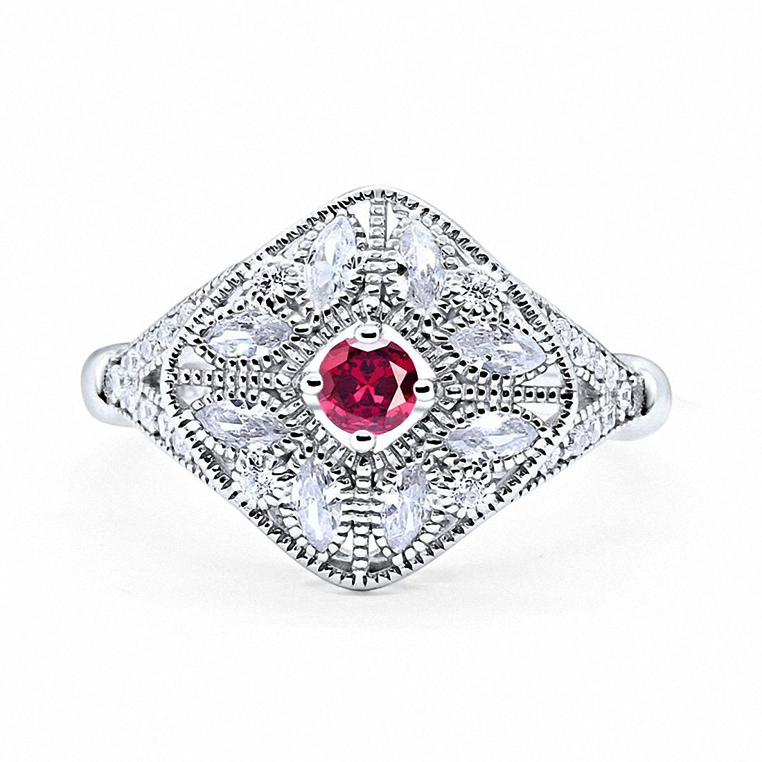 Art Deco Ring Marquise Filigree Simulated Ruby CZ 925 Sterling Silver