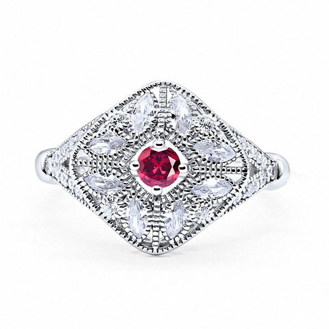 Art Deco Ring Marquise Filigree Simulated Round Ruby CZ 925 Sterling Silver