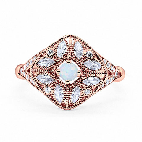 Art Deco Ring Marquise Filigree Rose Tone, Lab Created White Opal 925 Sterling Silver
