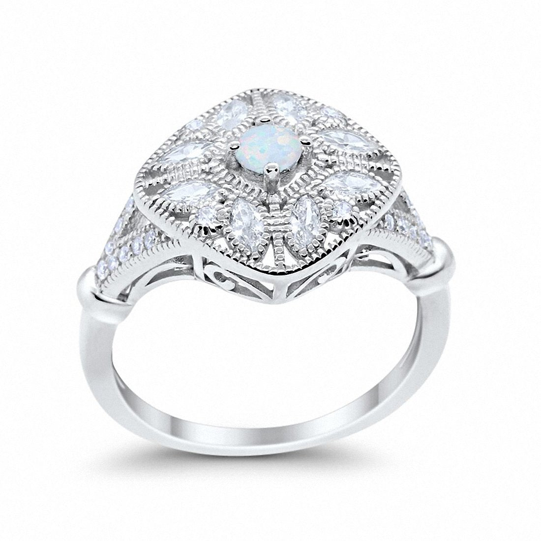 Art Deco Ring Marquise Filigree Lab Created White Opal 925 Sterling Silver