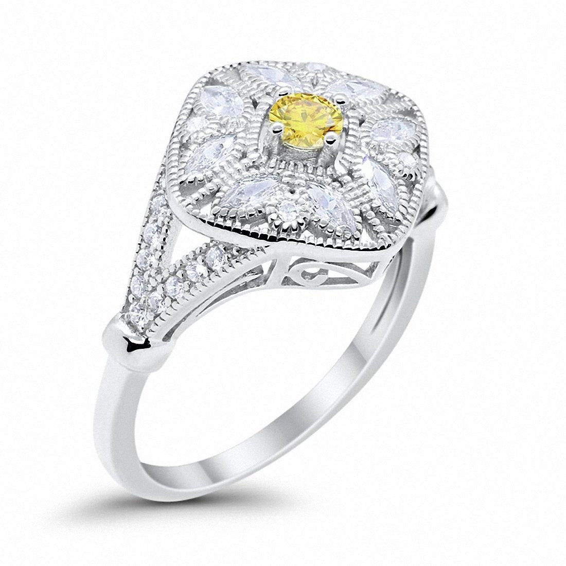 Art Deco Ring Marquise Filigree Simulated Yellow CZ 925 Sterling Silver