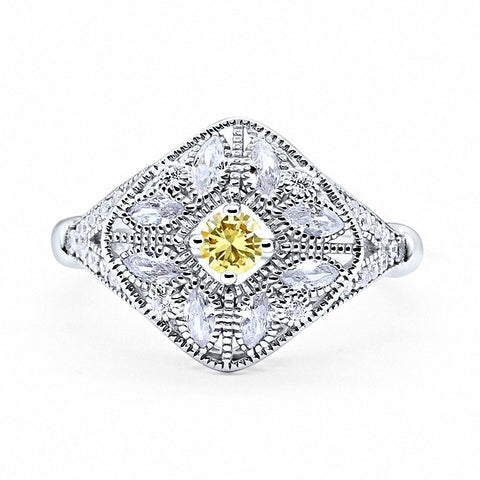 Art Deco Ring Marquise Filigree Simulated Round Yellow Cubic Zirconia 925 Sterling Silver