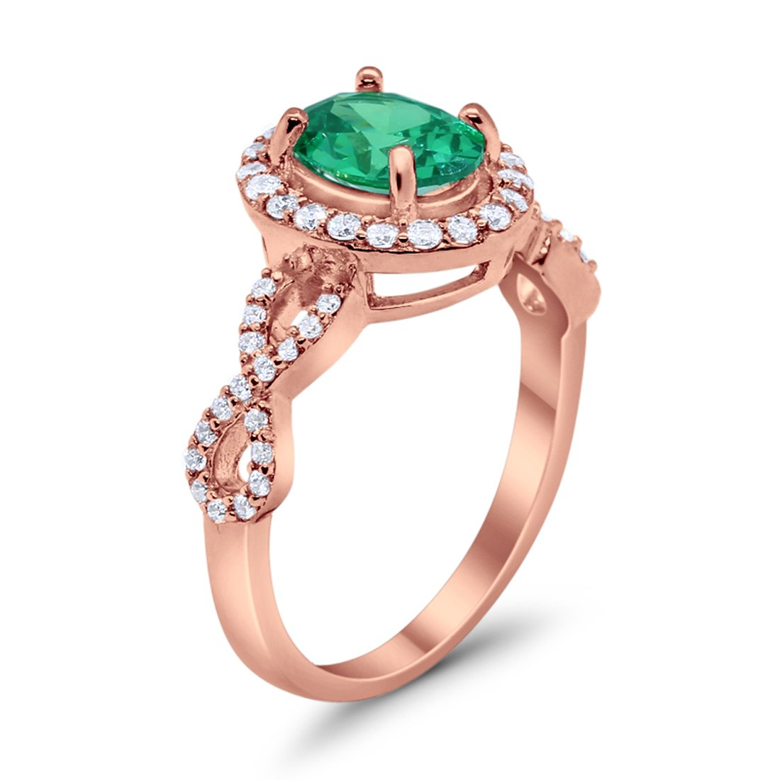 Infinity Wedding Bridal Ring Oval Rose Tone, Simulated Green Emerald CZ 925 Sterling Silver