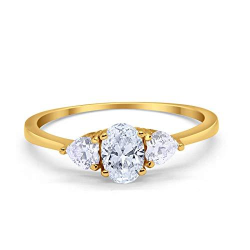 3-Stone Fashion Promise Ring Oval Yellow Tone, Simulated CZ 925 Sterling Silver