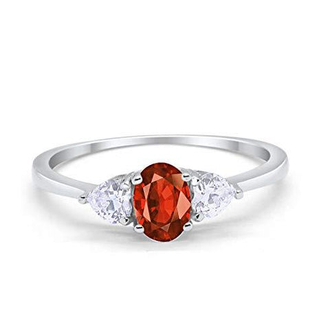 3-Stone Fashion Promise Ring Oval Simulated Garnet CZ 925 Sterling Silver
