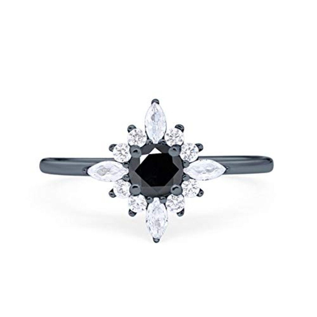 Cluster Wedding Ring Marquise Black Tone, Simulated Black CZ 925 Sterling Silver