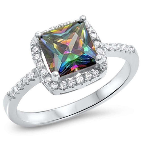 Solitaire Wedding Engagement Ring Cushion Cut Simulated Rainbow CZ 925 Sterling Silver