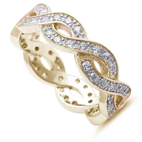 Full Eternity Stackable Band Ring Round Yellow Tone, Simulated CZ 925 Sterling Silver