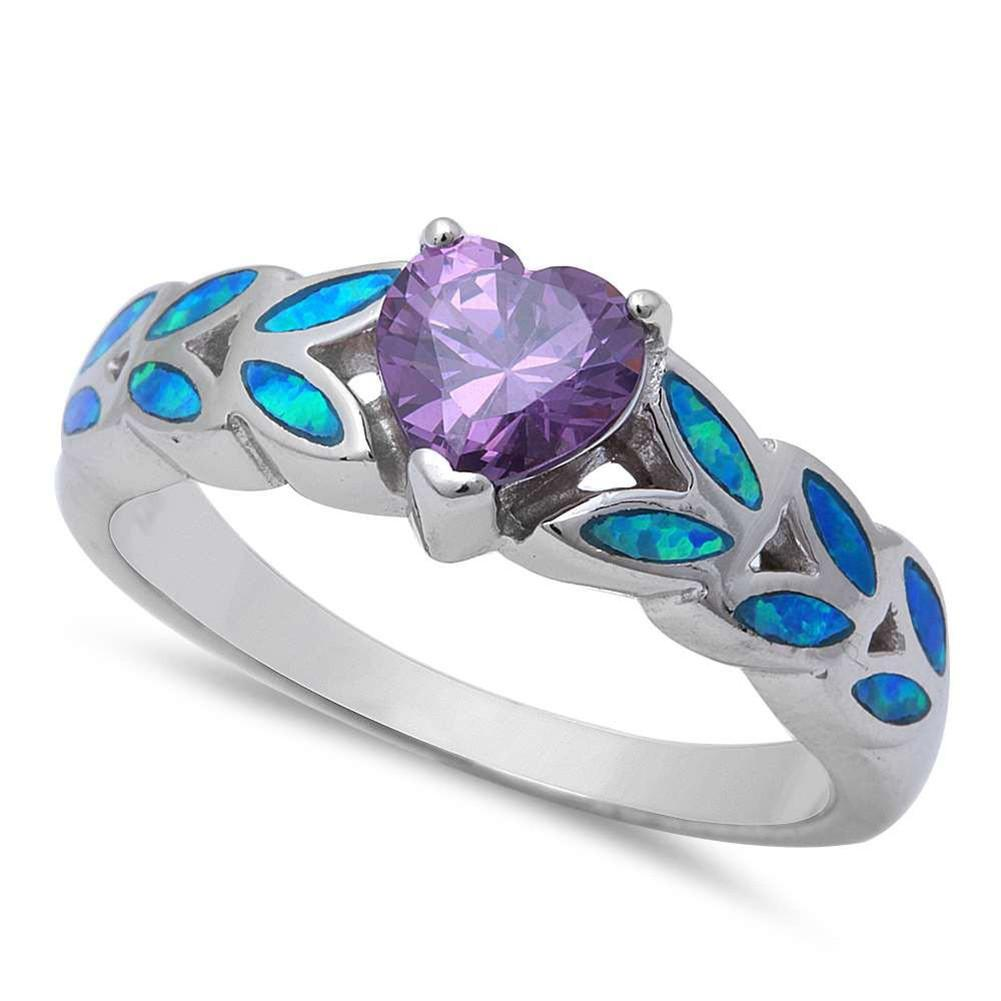 Heart Shape Simulated Amethyst CZ, Lab Blue Opal 925 Sterling Silver Ring