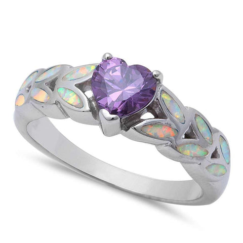 Heart Shape Simulated Amethyst & Lab White Opal 925 Sterling Silver Ring
