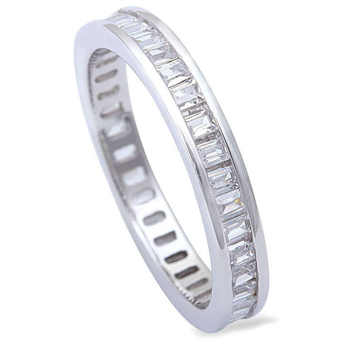 Baguette Cz Fashion Engagement Band .925 Sterling Silver Ring Sizes 6-9