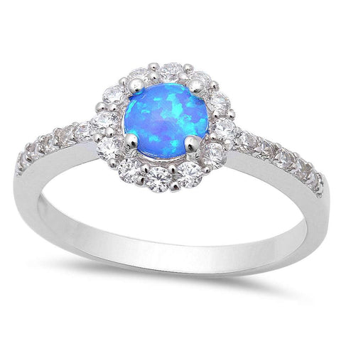 Round Blue Opal & Cubic Zirconia .925 Sterling Silver Ring Sizes 5-8