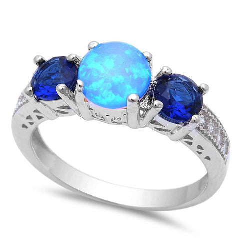 Blue Opal w/ Blue Sapphire & Cubic Zirconia .925 Sterling Silver Ring Sizes 5-8