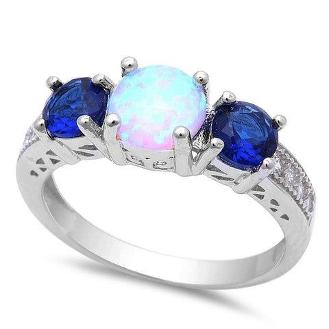 White Opal w/ Blue Sapphire & Cubic Zirconia .925 Sterling Silver Ring Sizes 5-8