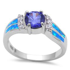 Halo Lab Blue Opal Simulated Tanzanite CZ Engagement Ring 925 Sterling Silver