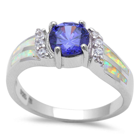 Tanzanite, White Opal & Cubic Zirconia Fashion .925 Sterling Silver Ring Sizes 5-10