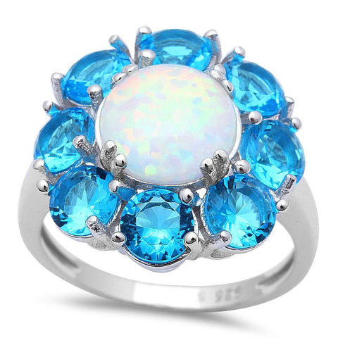 White FIRE Opal & Blue Topaz Flower .925 Sterling Silver Ring Sizes 5-11