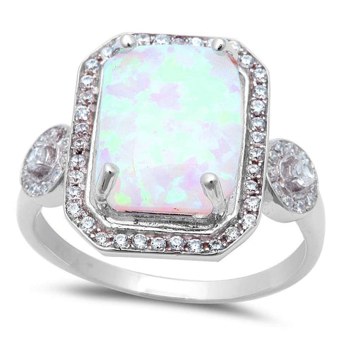 Large Radiant Cut White Fire Opal & Cubic Zirconia .925 Sterling Silver Ring Sizes 5-8