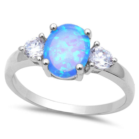 Blue Opal & Cubic Zirconia Fashion .925 Sterling Silver Ring Sizes 5-8
