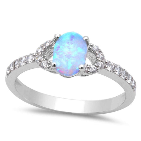 Cute White Opal & Cubic Zirconia .925 Sterling Silver Ring Sizes 5-8