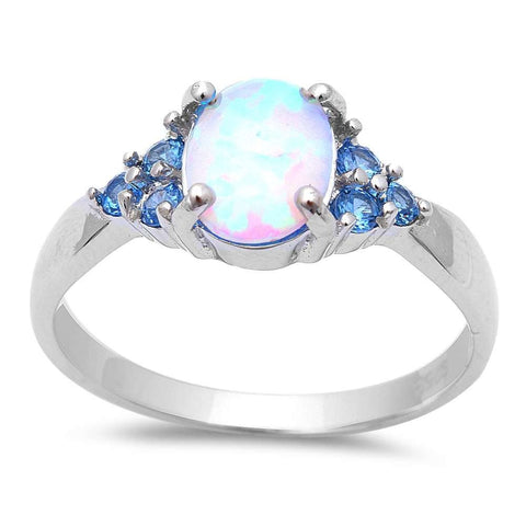 White Fire Opal & Blue Topaz .925 Sterling Silver Ring Sizes 5-8