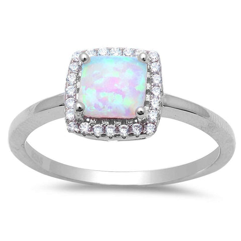 Square White Fire Opal & Cubic Zirconia .925 Sterling Silver Ring Sizes 4-11