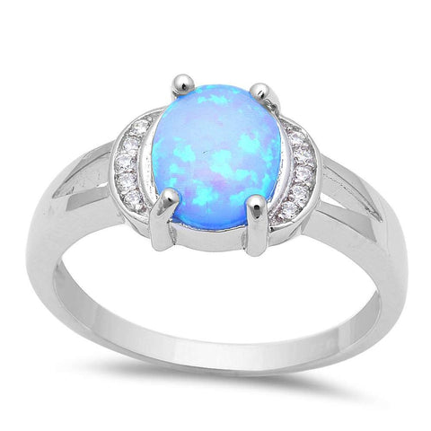 Oval Blue Fire Opal & Cubic Zirconia .925 Sterling Silver Ring Sizes 5-8