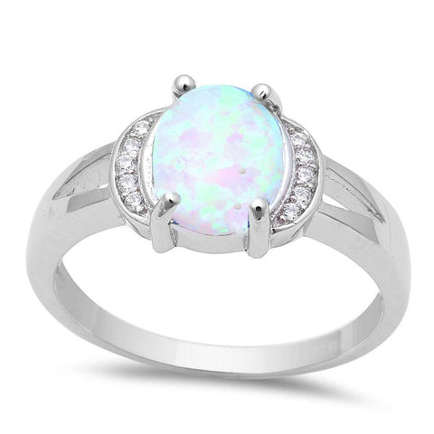 Oval White Fire Opal & Cubic Zirconia .925 Sterling Silver Ring Sizes 5-8