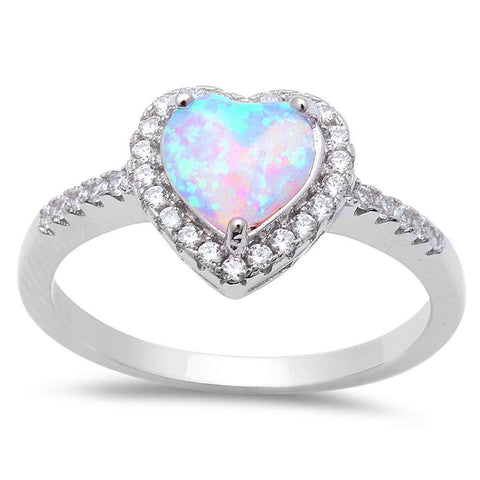 White Opal Heart & Cubic Zirconia .925 Sterling Silver Ring Sizes 5-9