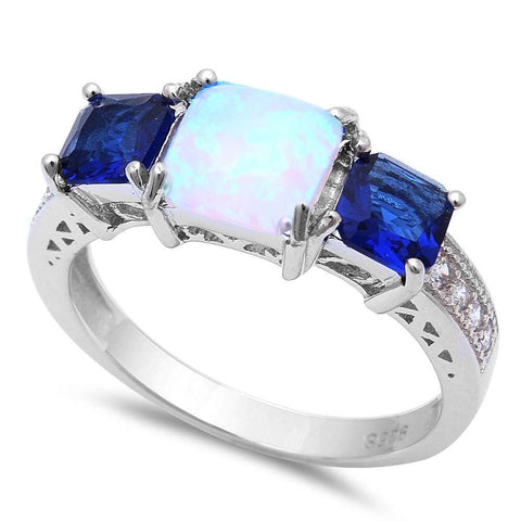 Princess Cut White Opal, Blue Sapphire & Cubic Zirconia .925 Sterling Silver Ring Sizes 5-8