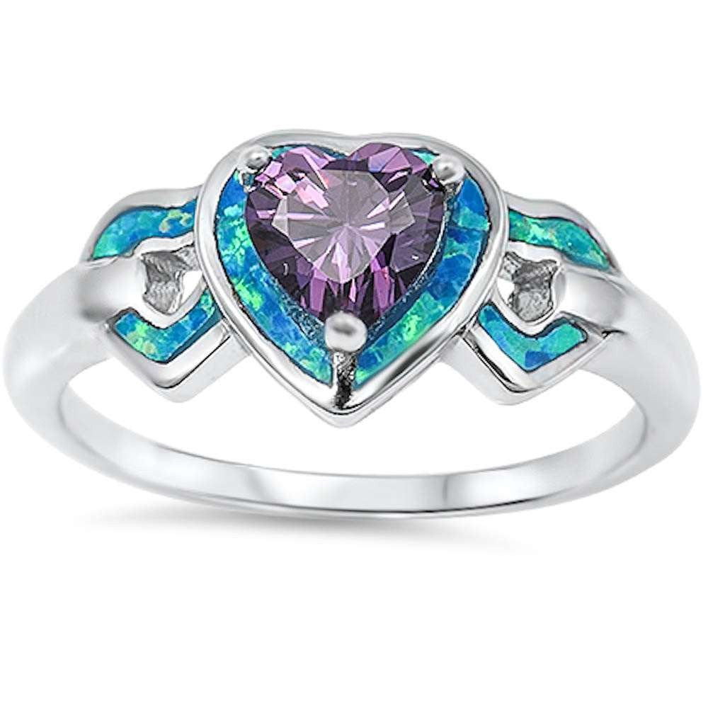 Wedding Heart Promise Ring Lab Opal Simulated Amethyst 925 Sterling Silver