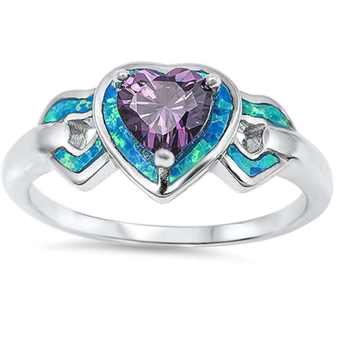 Blue Opal & Amethyst Hearts .925 Sterling Silver Ring Sizes 4-10