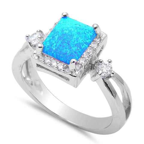 Blue Fire Opal & Cz Fashion .925 Sterling Silver Rings Sizes 4-12
