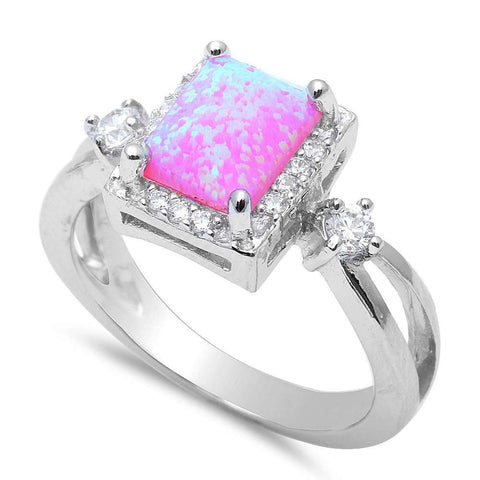 Pink Fire Opal & Cz Fashion .925 Sterling Silver Rings Sizes 4-12
