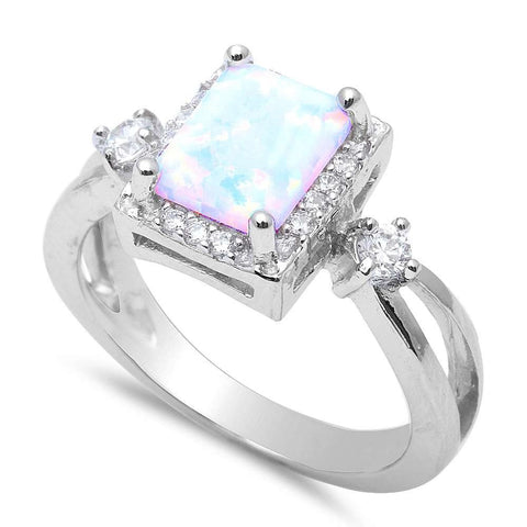 White Fire Opal & Cz Fashion .925 Sterling Silver Rings Sizes 4-12