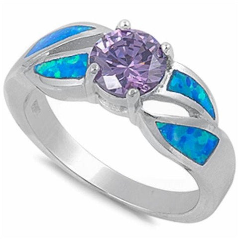 Round Amethyst & Blue Opal .925 Sterling Silver Ring Sizes 5-10