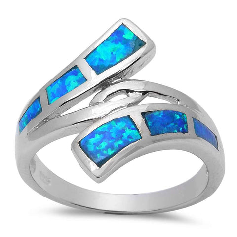 Blue Opal .925 Sterling Silver Ring Size 5-9