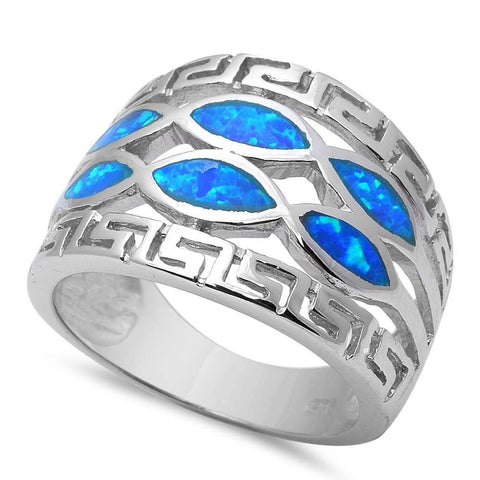 Blue Opal .925 Sterling Silver Ring Size 6-10