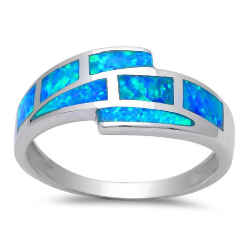 Blue Opal .925 Sterling Silver Ring Size 5-10