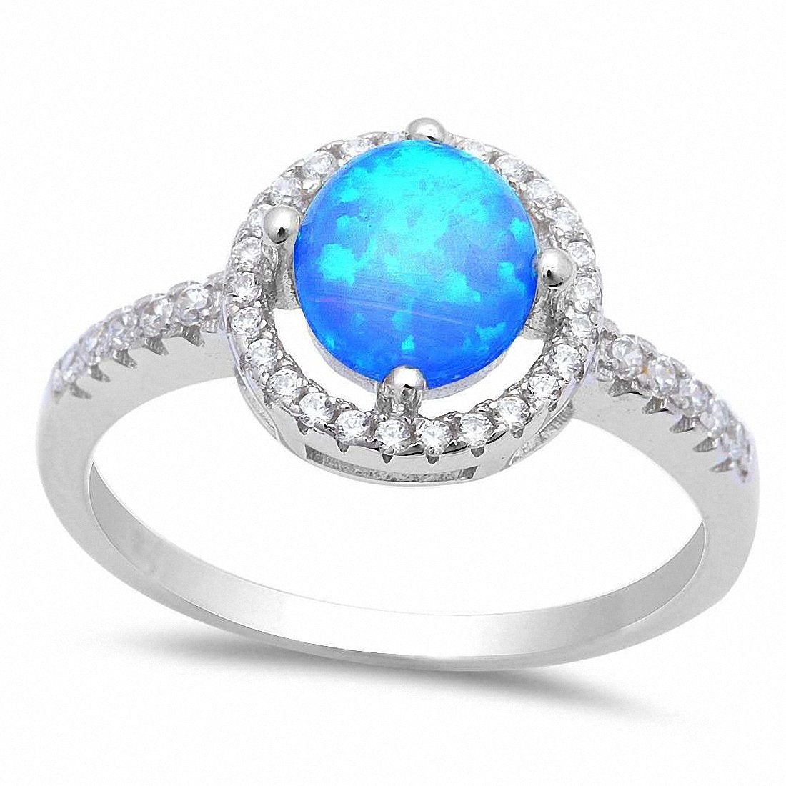 Solitaire Accent Halo Ring Round Lab Created Blue Opal 925 Sterling Silver
