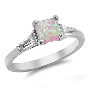 Princess Cut Lab Created Pink Opal Ring Baguette CZ 925 Sterling Silver
