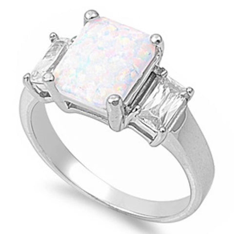 White Opal & Bagutte Cz .925 Sterling Silver Ring Sizes 5-10