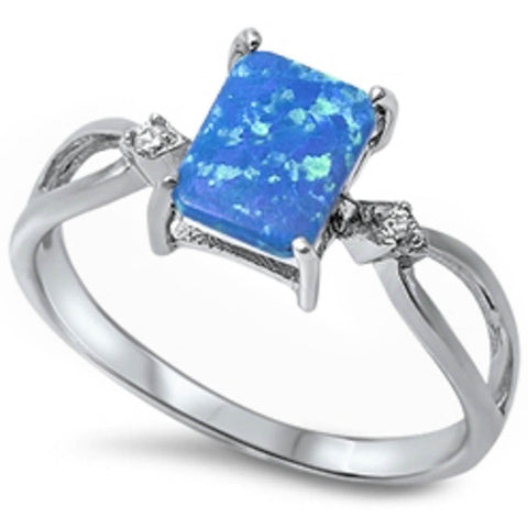 Sterling Silver Lab Created Blue Opal Ring Size 4-11