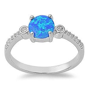 Sterling Silver Lab Created Blue Opal Ring with Bezel set CZ Size 5-10