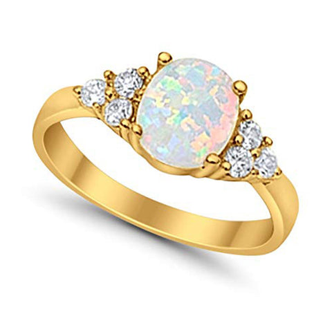 Accent Wedding Ring Oval Lab Created White Opal Round CZ Yellow Tone 925 Sterling Silver